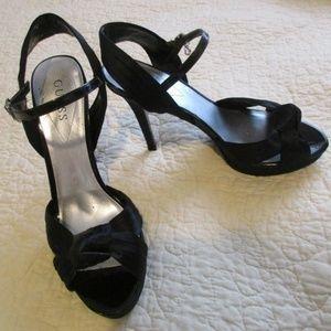 Guess black peep toe heels shoes 9.5M